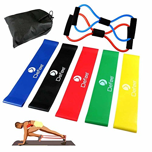KNGUVTH Exercise Resistance Loop Bands, Set of 5 Natural Latex Exercise Bands Sport Physical Workout Equipment, Stretch Bands for Legs, Yoga, Explosive Endurance Strength Training, Elastic Band