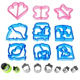 Sandwich Cutters for Kids Fun Cookie Cutters Holiday Vegetable Cutter Shapes Fruit Stamp - 17Pcs Include Dinosaur Puzzle