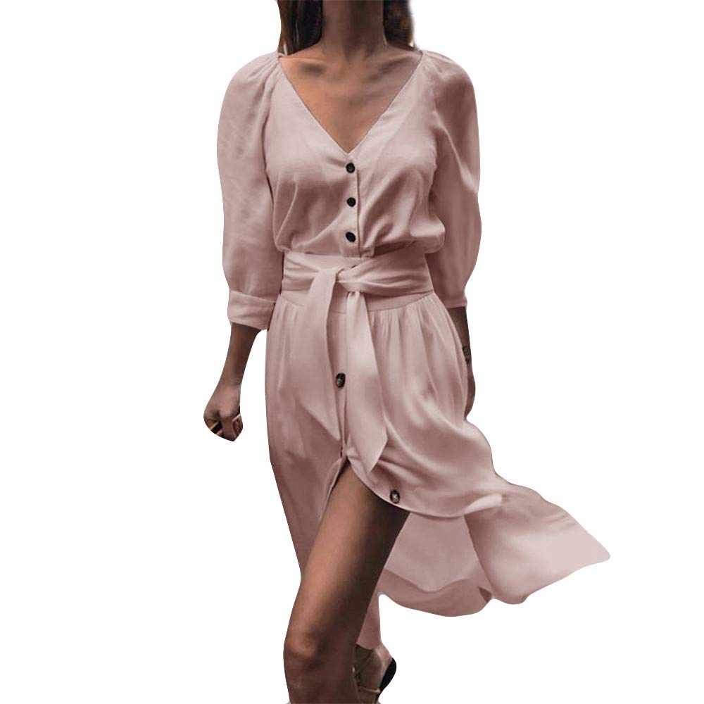 AMSKY Mini Dress,Womens Button Pure Color Fashion Ladies Casual Evening Paty Mini Dress,Coats, Jackets & Vests,Pink,M