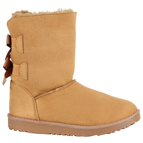 Damen Schlupfstiefel Warm Gefütterte Stiefel Stiefeletten Winter Boots  Bommel Pailletten Glitzer Snake Print Schuhe Flandell Hellbraun 0b92a849c8