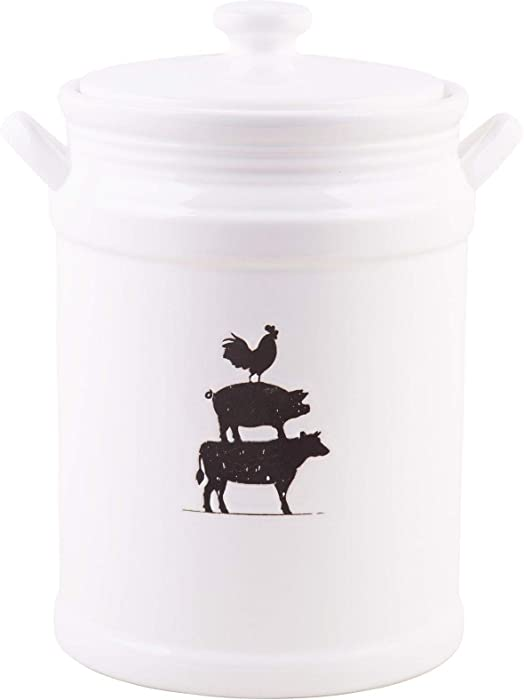 Home Essentials Farmhouse Debossed Cow, Pig, Rooster Canister 84 Ounce