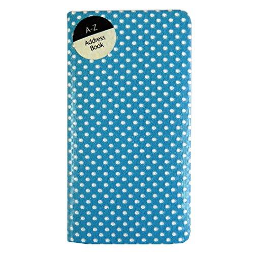 Slim Soft Touch, A-Z Address Book - Retro Polka Dots - Blue Tallon