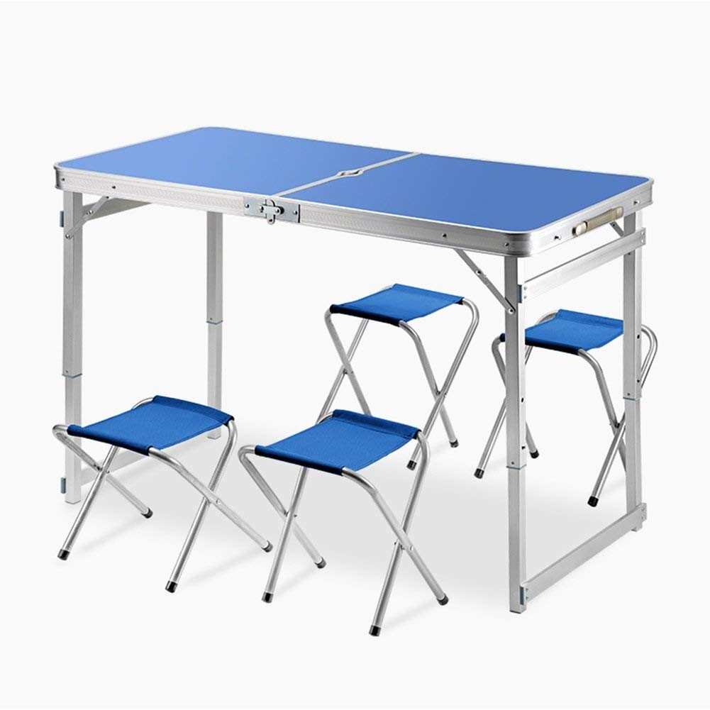 MUMM Picnic Table and Chairs Foldable Portable Adjustable Height Camping Table is Durable and Suitable for Outdoor Indoor with Umbrella Hole oO (Color : Blue) by MUMM