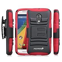 Fosmon® Motorola Moto G (2nd Gen, 2014) Case (STURDY) Heavy Duty Hybrid Shell Case and Holster with Kick Stand for Motorola Moto G (2nd Gen, 2014) - Fosmon Retail Packaging (Red)