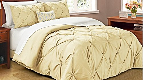 Cathay Home Oasis PinTuck Comforter Set, Full/Queen, Taupe