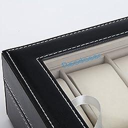 Readaeer Black Leather 10 Watch Box Case Organizer Display Storage Tray for Men & Women