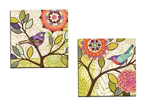 Portfolio Canvas Décor 'Bird Bliss Purple' by Jennifer Brinley  16x16x1.5, 2 Pieces Canvas Wall Art (Bird Vintage Paintings)