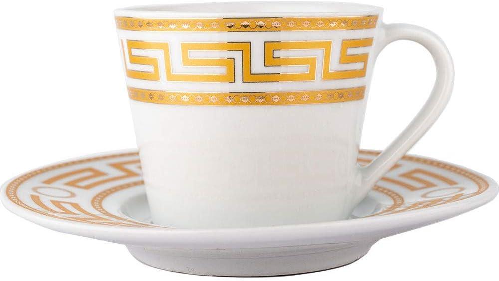 Wei/ß Almina f/ür 6 Personen Gold   Mokkatassen T/ürkische Kaffeetassen Set