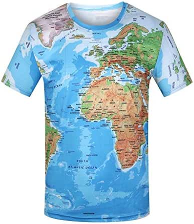 iZZZHH Men's Fashion Casual Creative World Map 3D Print O-Neck Short Sleeve T-Shirt Tops Blouses
