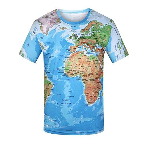 LEKODE Men T-Shirts Fashion Casual Tee World Map 3D Print O-Neck Tops Blouse(Multicolor,L(3XL)) (Good Land Henley Shirt)
