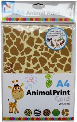 Leopard Zebra Lizard Giraffe Shapes Art Craft 15 Sheets A4 Animal Print Card