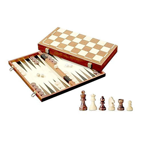 3-in-1 Wood Combination Chess, Checkers, and Backgammon Game Set With a Folding Carrying Case (Folding Set Wood Backgammon)