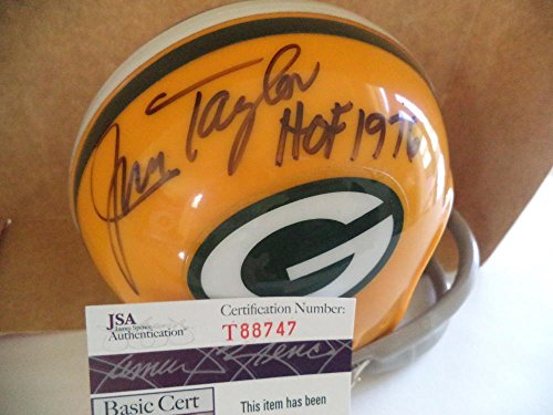 (Autographed Jim Taylor Hall of Fame 1976 Packers Signed2 Bar Riddell Mini Helmet Rare - JSA Certified)