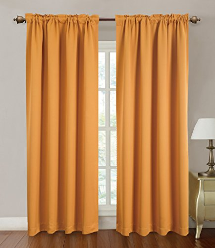 Blackout Curtains Window Panel Drapes for bedroom / living room – 2 Panel Set, 52 by 84 inch each panel, 7 Back Loops per Panel, 2 Tie Back Included, color Orange – Window Rose