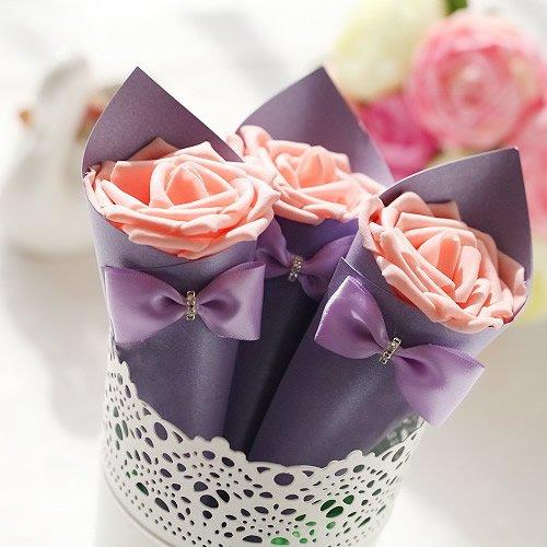 Generic Purple White Wedding Favors Foam Rose Candy Box Bowknot
