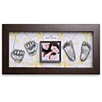 Momspresent baby hand print and foot print deluxe Casting kit with White Frame4 Silver