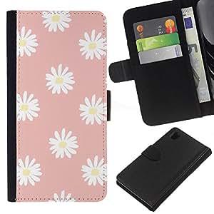 WINCASE Cuadro Funda Voltear Cuero Ranura Tarjetas TPU Carcasas Protectora Cover Case Para Sony Xperia Z1 L39 - margarita rosada modelo pétalo de flor blanca