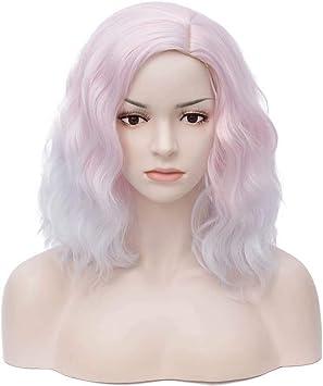 Cosplaza Clair Rose Blanc Court Boucles Cheveux Ondules Pour