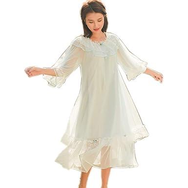 Womens  Lovely Nightgown Girls Lace Vintage Nightdress Priincess PJS  Sleepwear Wedding Loungewear Chemises (Light 77b62b87a