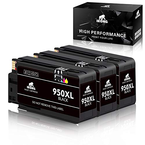 IKONG 3 Black Compatible Toner Cartridge Replacement for 950XL Cartridges Works with OfficeJet Pro 8600 8610 8620 8630 8640 8615 8625 251DW 271DW Printers 80 Black Ink Cart