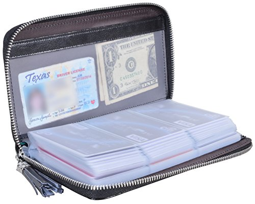 Yuhan Pretty Womens Credit Card Holder Wallet RFID Leather Small ID Card Case (60 Card Slots - Black)