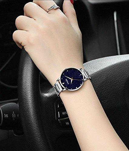 GuTe-Women-Quartz-WatchRose-Gold-Stainless-Steel-Blue-sandstone-Dial-Analogue-Quartz-Lady-Dress-Watch