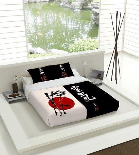 Copripiumino Zen.Tsuki Set Copripiumino Nagasaki Letto 135 Nero Bianco Rosso Zen