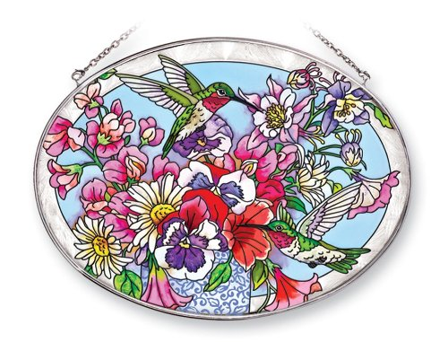 Amia 41251 Hummingbird's Delight 9 by 6-1/2-Inch Oval Sun Catcher, Large