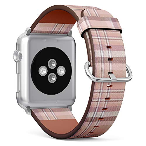 - Compatible with Apple Watch Serie 4/3/2/1 (Small Version 38/40 mm) Leather Wristband Bracelet Replacement Accessory Band + Adapters - Plaid Check Pink Pale