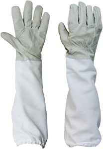 "BESTOPE Beekeeping Protective Gloves with Vented Long Sleeves 4.33"" Width--Grey, 1 Pair"