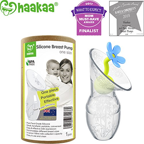 Haakaa Breastpump with Flower Stopper 100% Food Grade Silicone BPA PVC and Phthalate Free (3.5oz/100ml) (Blue)