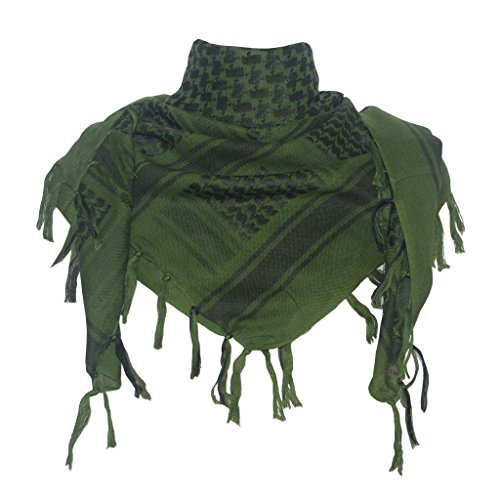 Explore Land Cotton Shemagh Tactical Desert Scarf Wrap (Olive -
