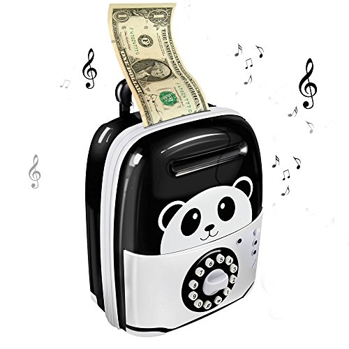Winkeyes Cartoon Piggy Bank Electronic Password Money Box ATM Bank Safe Locks Cash Coin Can Panda Traveling Case Money Bank Smart Voice & Music Prompt Money Safe Box for Kids Christmas Gift