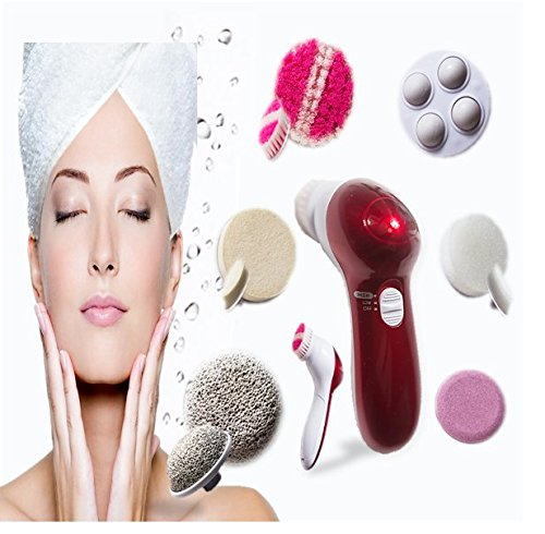 Facial Brush Advanced Cleansing System Plus Free Pumice Stone from Adella Skincare; Your Delux Face Brush comes with 6 Premium Brushes made to Revitalize your Skin- Enjoy Softer & Smoother Skin Now!