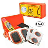 Lumintrail Bicycle Bike Tire Tube Repair Kit - 6 Rubber Patches + Sandpaper + Rubber Patch Cement, in Compact Portable Case (1 or Multiple Pack) (2 Pack)