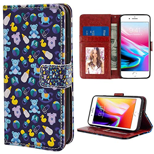 Leather Case for iPhone 8 Plus (2017), iPhone 7 Plus (2016) 5.5-Inch Nursery Children Toys with Rubber Duck Teddy Bear Beach Ball and Rocking Horse Multicolor Texture - Rocking Duck