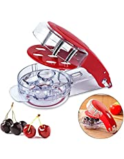 Cherry Pitter Tool, Stainless Steel Cherry Remover, 6 Cherries at Once, Cherry Stoner Seed Pitter with Pit and Juice Container
