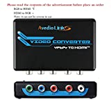 avedio links Component to HDMI Converter, 5RCA Component RGB YPbPr to HDMI v1.3 HDCP 1080P Video Audio Converter Adapter for DVD PSP Xbox 360 PS2 Nintendo NGC to New HDTV Monitor or Projector