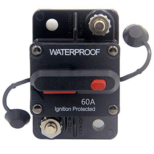 ZOOKOTO 12V-48VDC 60 Amp Circuit Breaker, Marine Trolling Motors Boat ATV Manual Power Fuse Rest, Waterproof (60A) by ZOOKOTO