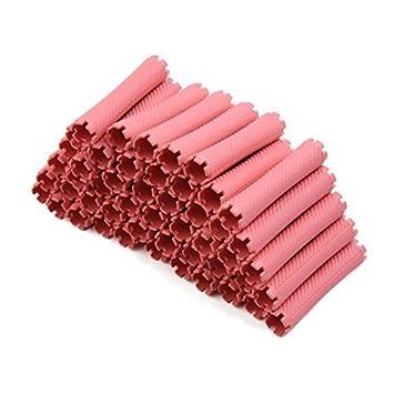 eDealMax 50pcs 8.7cm x 1.9cm rosa rizador de plástico mágico del Pelo del tubo