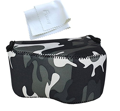 OC-S1YGR Camouflage Mirrorless Camera Pouch for Sony A6300/A6000/A5100/A5000 with 16-50mm Lens, Fujifilm X-M1/X-T10 with 18mm Lens, X30 X70, Panasonic LX100 & Sony RX1 RX1R II (Camera Camouflage Case)