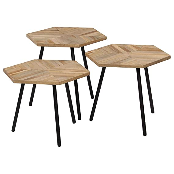 binzhoueushopping Ensemble Table Basse 3 pièces en Bois de ...