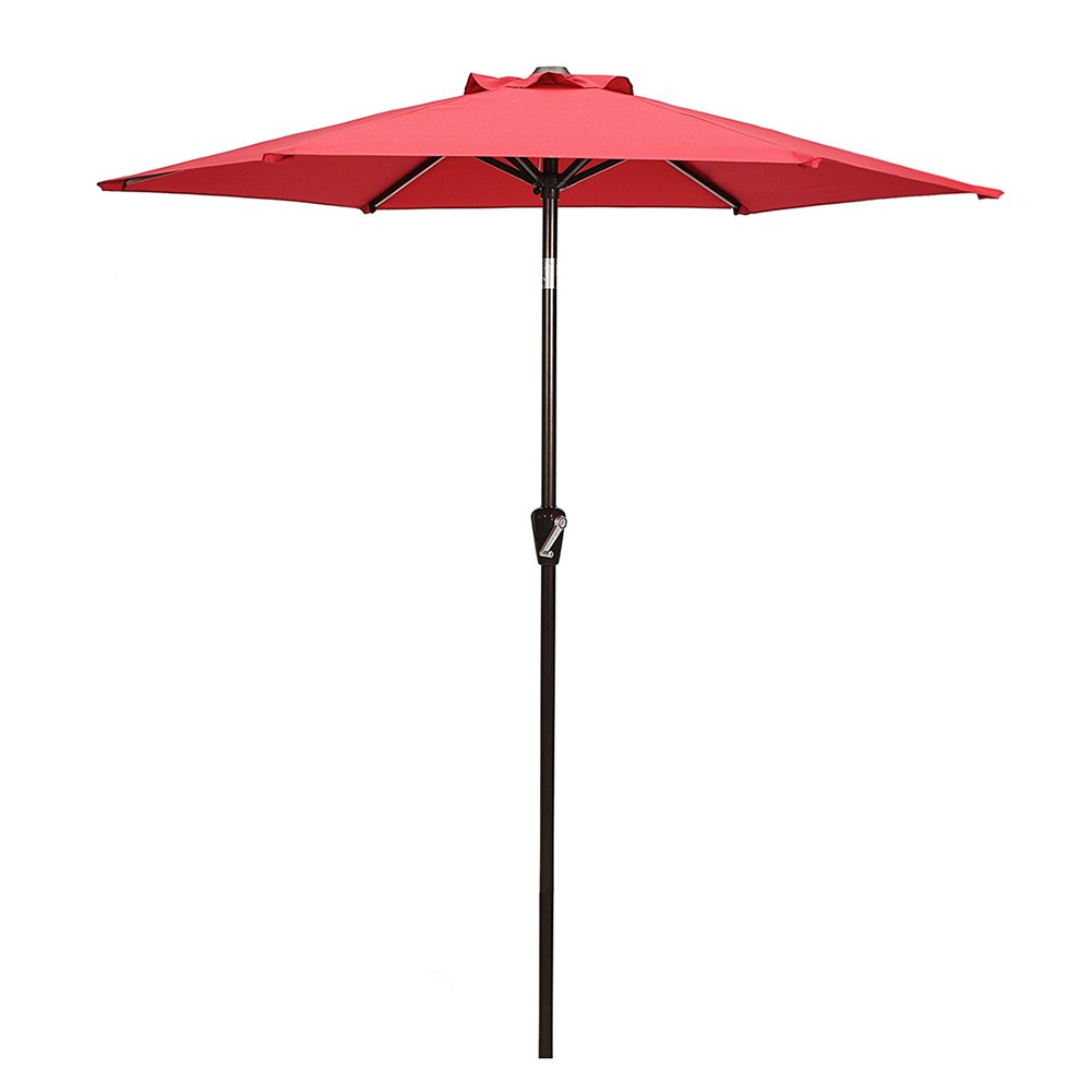 52% Off On Patio Umbrella, 7u0027 Outdoor Table Market Umbrella With Push  Button Tilt/Crank, 6 Ribs, Red By Domi Outdoor Living $47.99 + FS