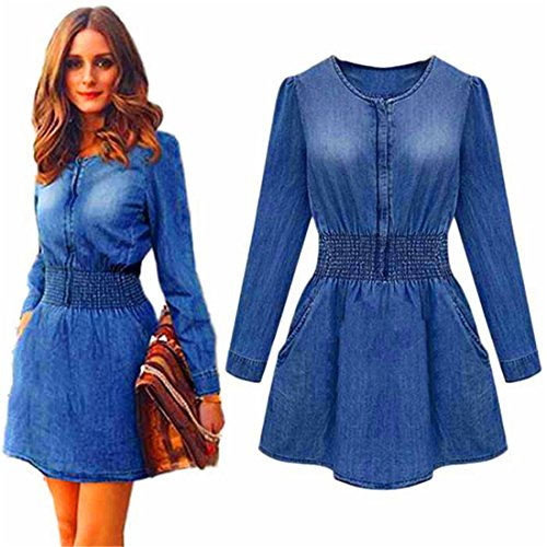 HANYI Women Long Sleeved Slim Casual Denim Jeans Party Mini Dress