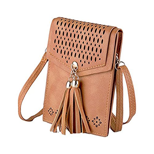 Crossbody Shoulder PU Brown Purse Phone Tassel Small Cell Bag Bags Women's Leather Wallet Mini PRx4zc