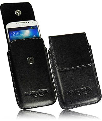 Exclusiv Slim Design Echt Ledertasche für BlackBerry Q5 Handytasche Gürteltasche Vertikaltasche von Matador in Schwarz/Black mit Magnetverschluß und Gürtelclip/Gürtelschalufe (mit Ausziehhilfe)