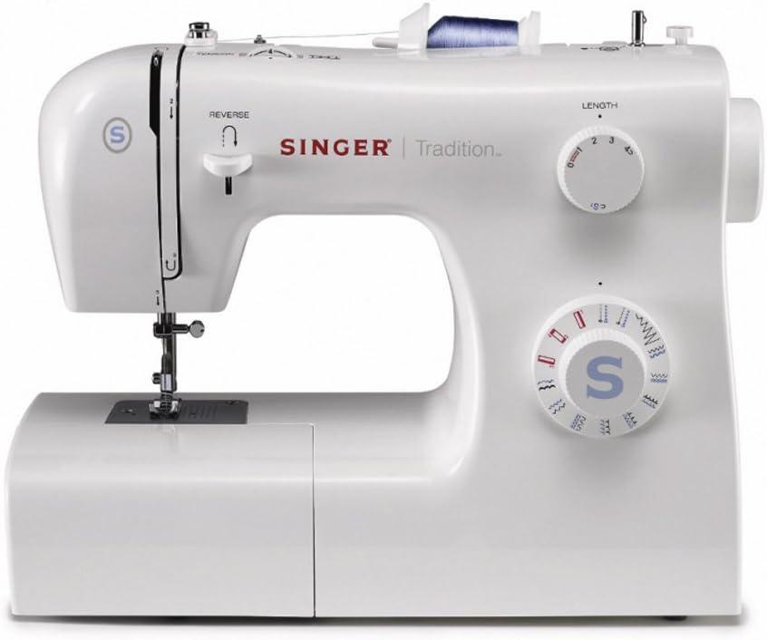 Singer 2259 Tradition - Máquina de coser mecánica, 19 puntadas, 120 V, color blanco: Amazon.es: Hogar