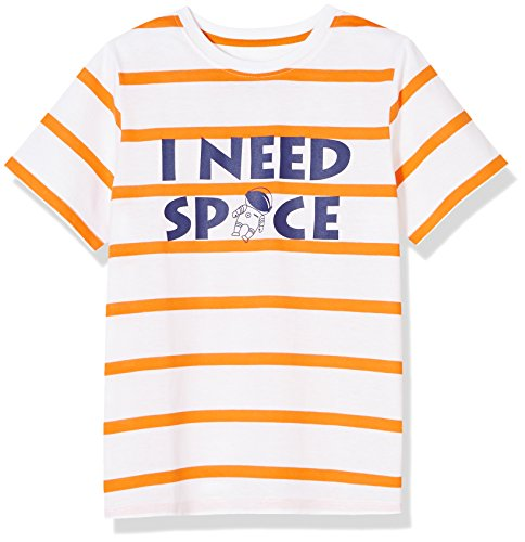 A for Awesome Graphic Fun Short Sleeve Space Tee Medium Orange Stripe (Stripe Graphic Tee)