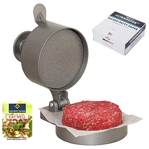 Weston Adjustable Hamburger Press with Patty Ejector Bundle with UltraSource Patty Paper, 1000 Sheets| Non-Stick Kit for making Stuffed Beef Burger, BBQ Grilling| Bundle INCLUDES SALIENT HOME Cookbook