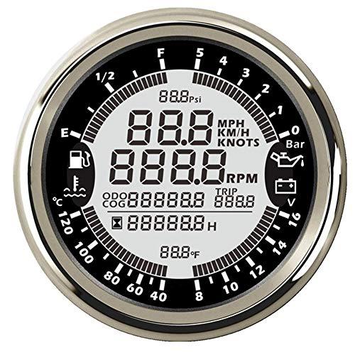 CT-CARID 85MM Digital GPS Speedometer Gauge Meter 6-in-1 Multifunction with Tachometer Hourmeter Water Temp Fuel Level Oil Pressure Voltmeter
